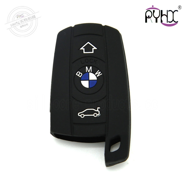 X3 car key cover,black,3 buttons,with logo,silicone,embossed design